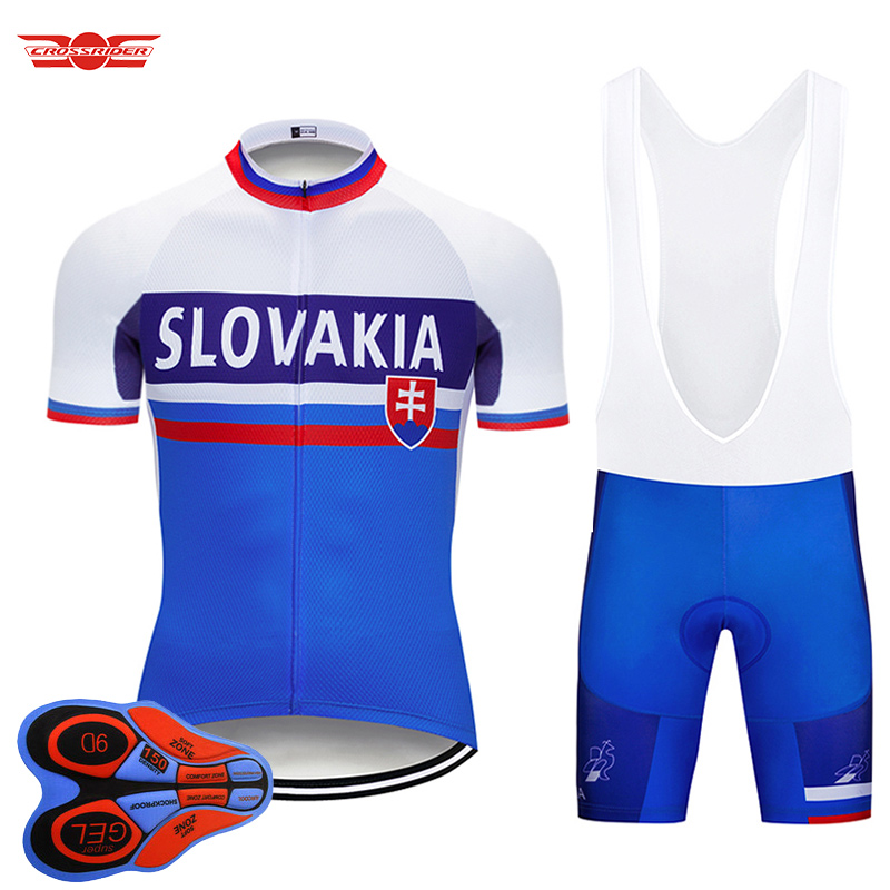 2018 Pro Team SLOVAKIA Cycling Jersey 9D Set MTB Uniform Bike Clothing Quick Dry Bicycle Wear Clothes Mens Short Maillot Culotte crossrider 2018 cycling pro jerseys set mtb uniform mountain bike clothing bicycle wear clothes men short maillot culotte