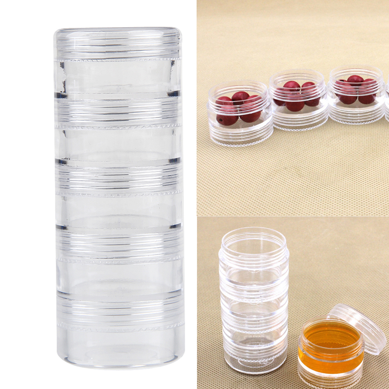 Five Conjoined Round Bottle Plastic Storage Bead Jewelry Packing Boxes Portable Carrying Box