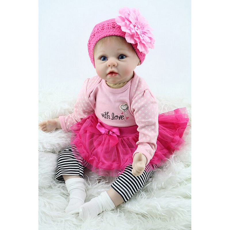 New 22inch 55cm Silicone Baby Reborn Dolls Lifelike Doll Reborn Babies Toys For Girl Pink Princess Gift Brinquedos For Kids