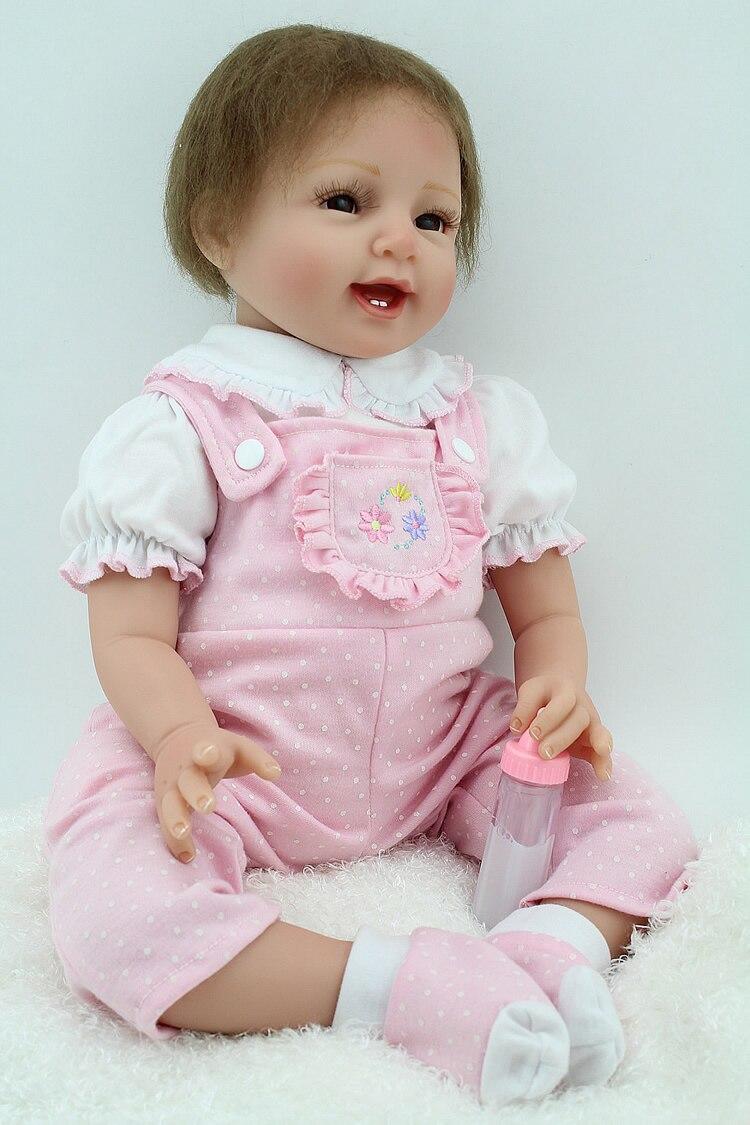 bebe 55cm reborn Silicone Vinyl Reborn Baby Doll Toys Lifelike Soft Cloth 22