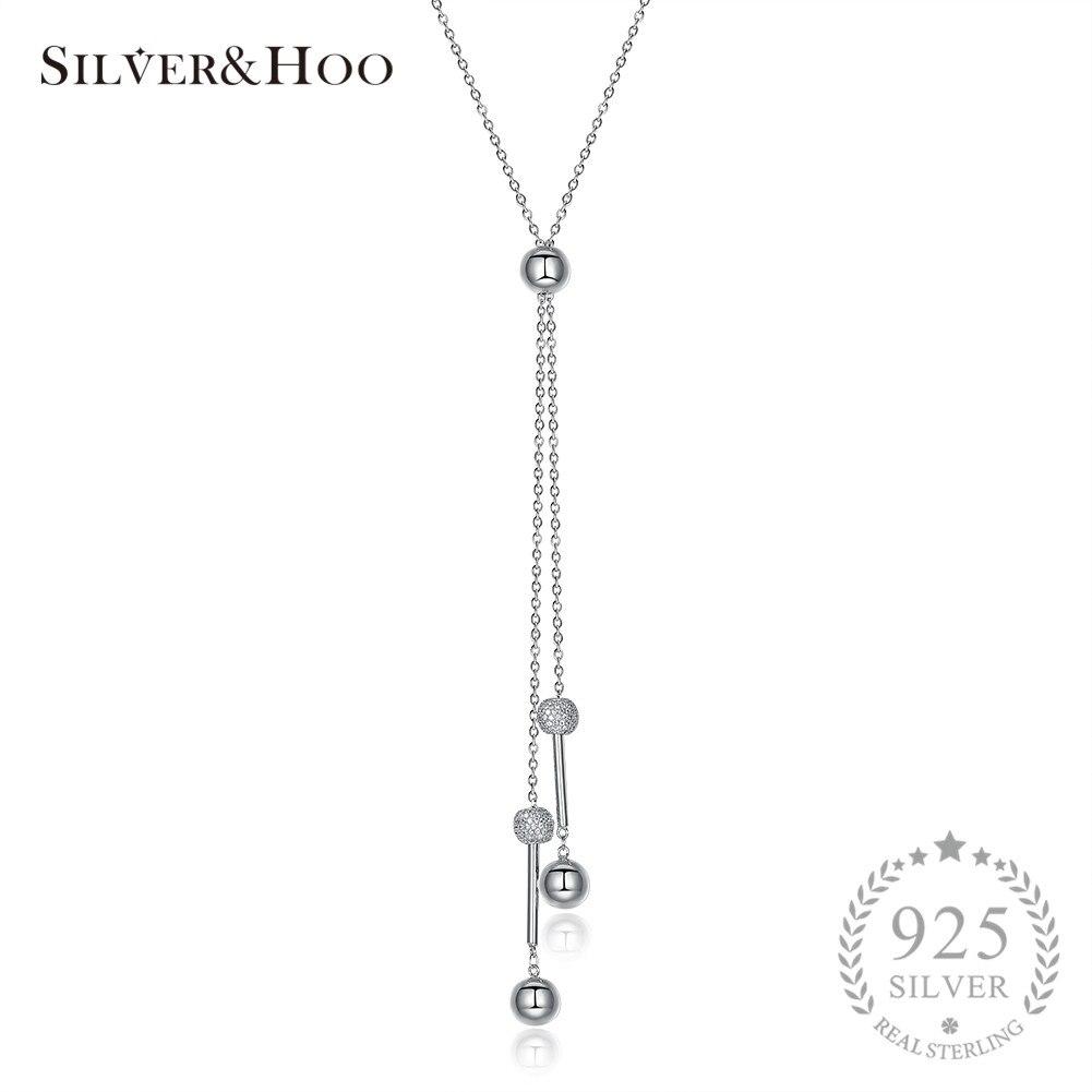 SILVERHOO collier pendentif boule romantique bijoux fins pour femmes chandail chaîne nouveau Design 925 argent Sterling mariage élégant