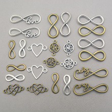Mix 24pcs many kind metal alloy connector link charms For Diy Handmade Jewelry Bracelet Charms Making