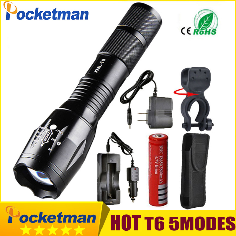 Pocketman 9000 Lumens High Power 5 Mode XM-L T6 L2 LED Flashlight Zoomable rechargeable Focus Torch by 1*18650 or 3*AAA z92 8200 lumens flashlight 5 mode cree xm l t6 led flashlight zoomable focus torch by 1 18650 battery or 3 aaa battery