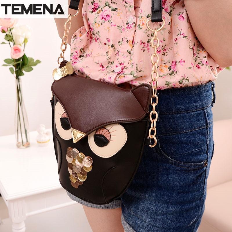 TEMENA Women Messenge Bags Owl Female Leather Shoulder Bag Crossbody Bag Ladies Handbags Small Clutch Purse Mini BMB4441  цена и фото