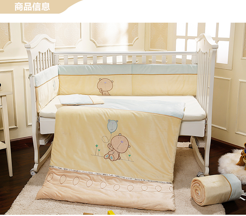 Promotion! Velvet  baby bedding set curtain crib bumper baby cot sets baby bed bumper,(bumper+sheet+pillow+duvet) 2 size