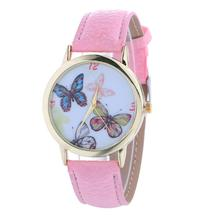 9s cheap women watches Butterfly Pattern Fashion Woman Colored PU Leather Watch High Quality Watch  0717