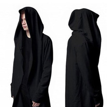 Hoodies Men Europe Style Avant-garde Fashion Cloak Long Sleeves Shawl Outwear Streetwear Hoody Men's Plus Long Hoodies