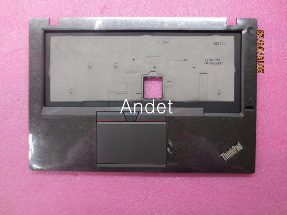 New Original Keyboard Bezel Palmrest Cover for Lenovo ThinkPad T450S UMA With Touchpad With Fingerprint Reader 00HN691 new original for lenovo thinkpad t460 palmrest keyboard bezel upper case with fpr tp fingerprint touchpad 01aw302