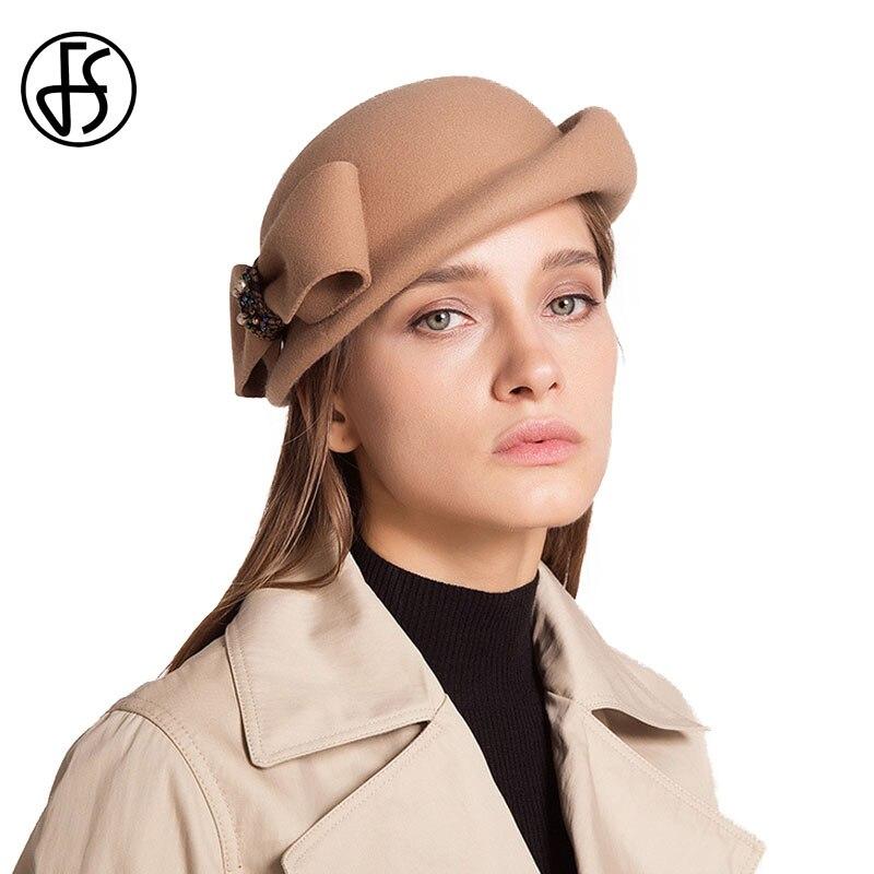 177f744d7d509 FS Vintage French Style Felt Beret Winter Womens Bow Pillbox Hat 100%  Australia Wool Berets Short Brim Dome Caps