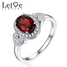 Leige Jewelry Silver 925 Oval Cut Natural Garnet Ring Engagement Rings with Stones for Women Christmas Gift January Birthstone