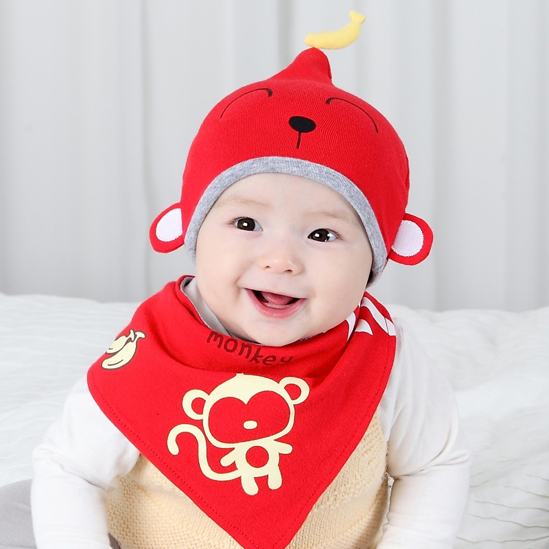 2019 New Style 2018 New 2pcs Cute Monkey Cap Mother & Kids Accessories Baby Bibs For Newborns Infant 100% Cotton Baby Caps Breastplate 6 Colors For 6m-3t