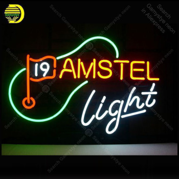 Neon Sign for Amstel 19Th Hole Golf l Neon Bulb Sign Light wall sign for Room Custom nein sign Express Lamp Beer room Accesaries
