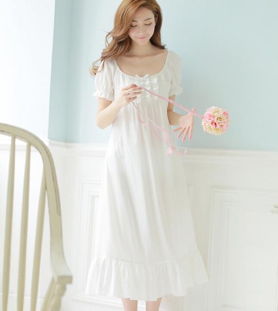94ebce46b8a Free Shipping 100% Cotton New Summer Princess Nightdress Long White Pijamas  Women s Nightgown Sleepwear Ladies negligee