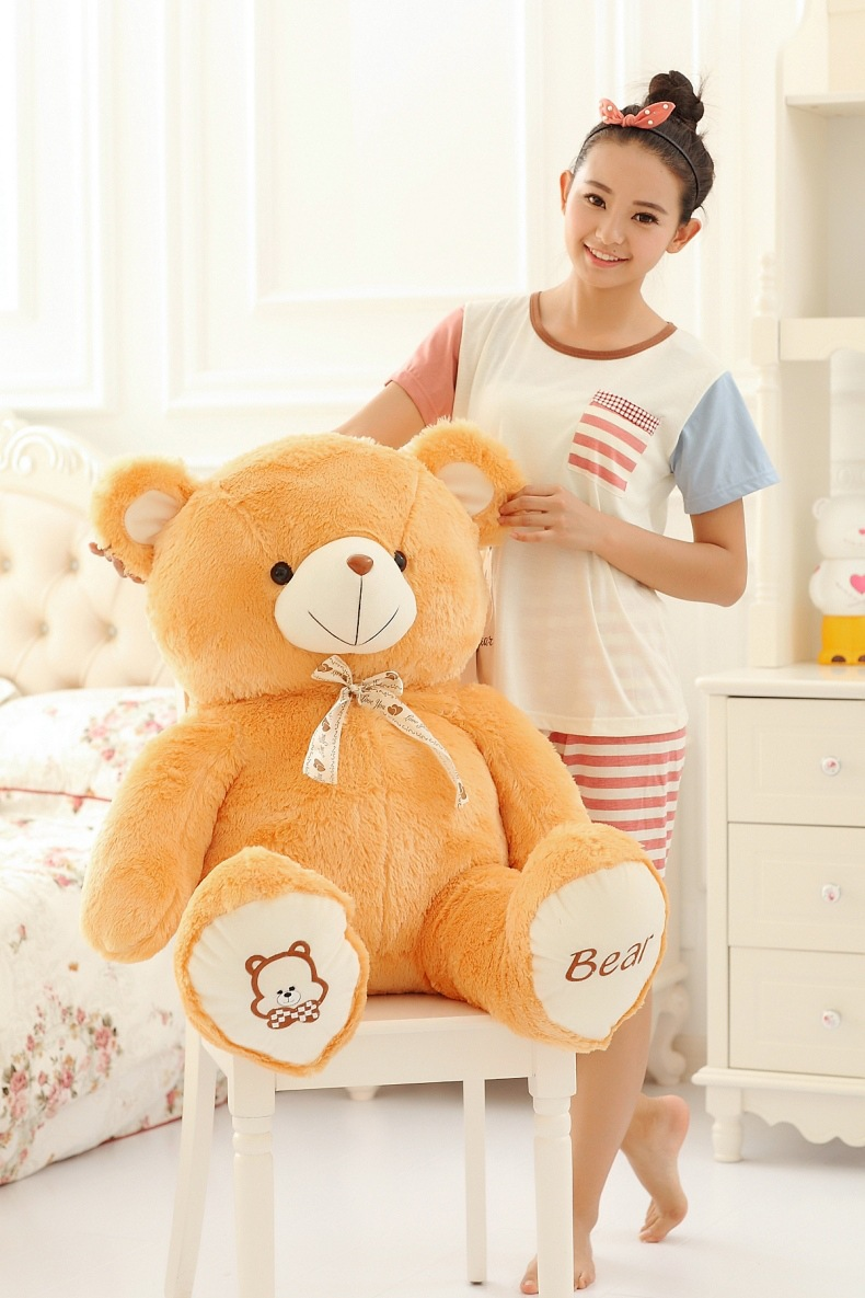 huge plush bow teddy bear toy stuffed big lovely orange bear doll birthday gift about 135cm s2954