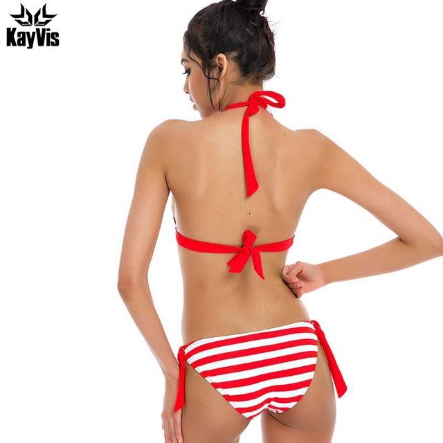 kayVis 2017 Sexy Bikinis Women Swimwear Halter Top Stripe Bandeau Swimsuit Brazillian Bikini Set Bathing Suit Summer Beach Wear