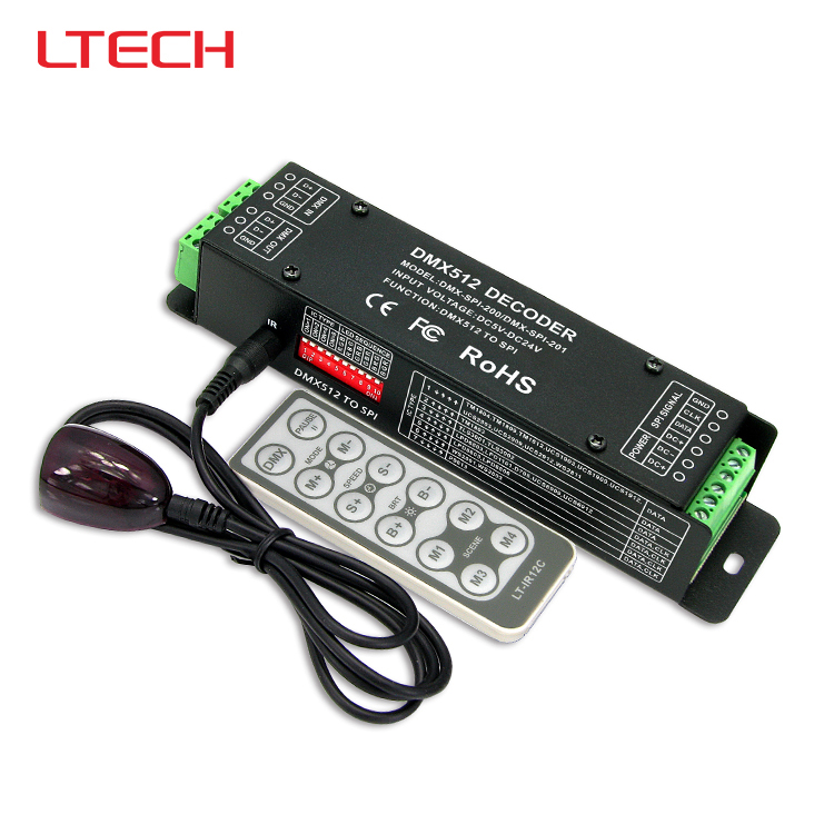 DMX-SPI-200 DMX-SPI Decoder with IR remote;dimming decoder support WS2801/WS2811/WS2812B/TM1804/TM1809/INK1003/1903 etc цена 2017