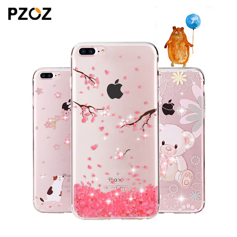PZOZ For iphone 7 Case Rhinestone Glitter Silicone Cover Original For iphone 7 Plus Luxury Crystal