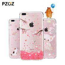 PZOZ For iphone 7 Case Rhinestone Glitter Silicone Cover Original For iphone 8 Plus Luxury Crystal Diamond Soft Shell 4.7&5.5