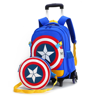 New Arrival Triple Wheels Trolley School Bag For Girls and Boys Portable Detachable Backpacks Children Alloy Rod Bag