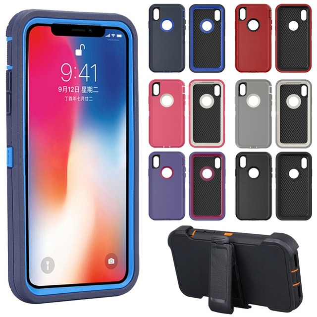 3 in 1 Rubber Hybrid Heavy Defend Shockproof Full Coverage Case Cover for iPhone X XS Max XR 6 6S 7 8 Plus 5s SE with Belt Clip