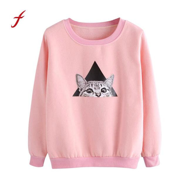 Womens Cat Printing Pink Long Sleeve Sweatshirt Pullover Tops Blouse Ladies  harajuku sweatshirt hoodie unicorn 2018 Jumpers ec722ed93c