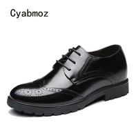 Cyabmoz Для мужчин из натуральной кожи Высота обувь со скрытым каблуком резьба незаметно 7 см Лифт Повседневное вечерние человек свадебное пла