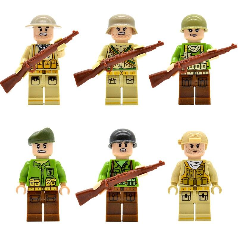 20 unids/lote soldados alemán británico nos Rusia ejército moderno campo de las tropas de bloques de construcción ladrillos juguetes para los niños