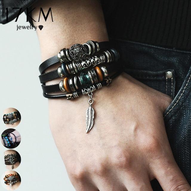 17KM 4 Design Leaf Feather Multiple Layer Charms Bracelet For Men Women 2018 Fashion Leather Bracelets Wristband Braid Bangles