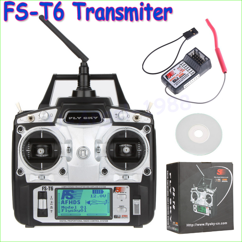 ФОТО 1pcs Original Flysky FS-T6 FS T6 6ch 2.4g w/ LCD Screen Transmitter + FS R6B Receiver RC Quadcopter Helicopter With LED Screen