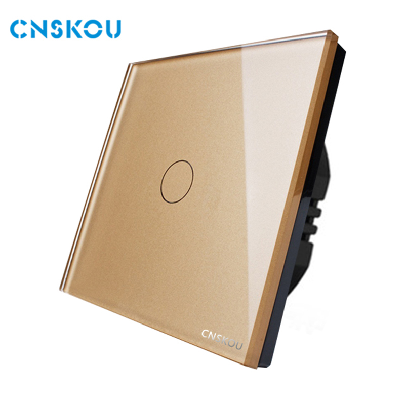 EU standard  1gang 1way wall light electrical touch switch with circular buttons gold crystal glass panel touch switch Cnskou smart home uk standard crystal glass panel wireless remote control 1 gang 1 way wall touch switch screen light switch ac 220v