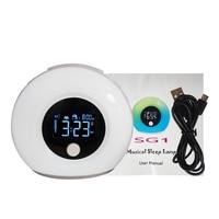 Digital Alarm Clock Colorful LED Smart Touch Light USB Adapter BT Speaker Night Light LCD Alarm Clock 4 Modes Musical Sleep Lamp