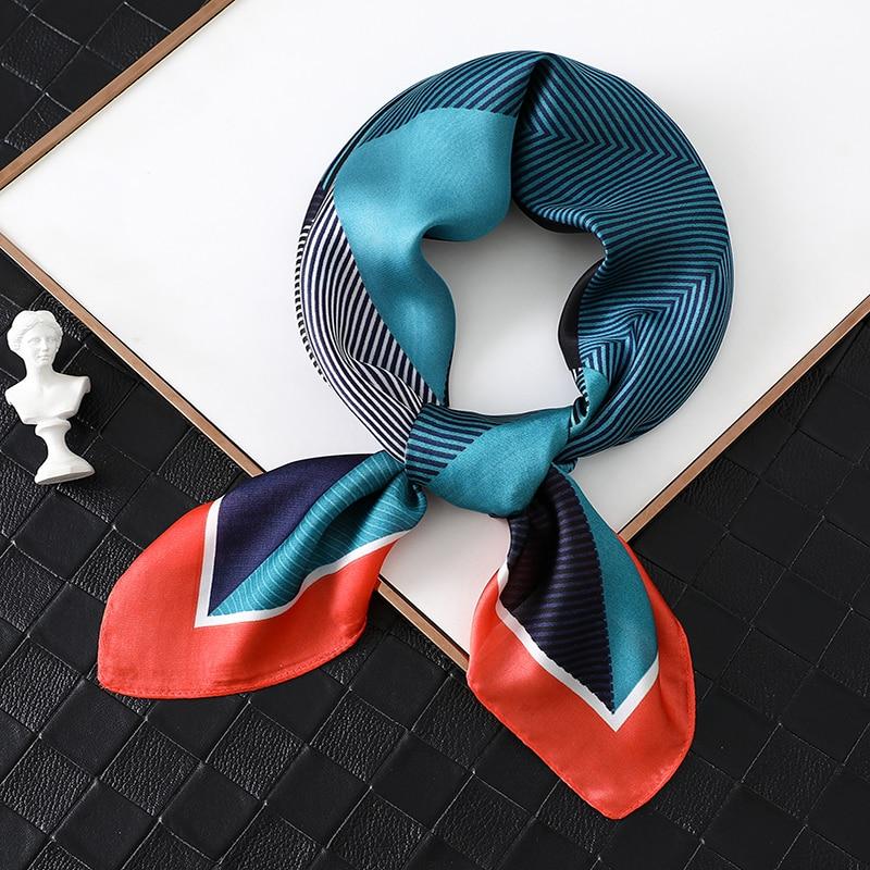 2020 Luxury Women Silk Scarf Square Foulard Hair Neck Scarfs Lady Office Head Band Fashion Print Female Scarves  Hand Kerchief