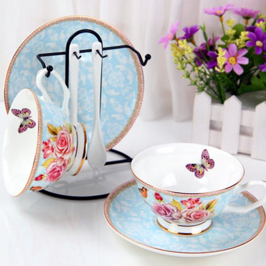 Tasse à café en porcelaine osseuse européenne de luxe soucoupe créative Vintage britannique Cappuccino thé ensembles Kahve Fincanlar maison outil 50N5038