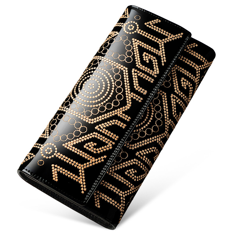 New Ladies Women Fashion Patent Leather Embroidery Black Design Clutch Bag Card Holder Purses Hasp Wallet Standard Wallets casual weaving design card holder handbag hasp wallet for women