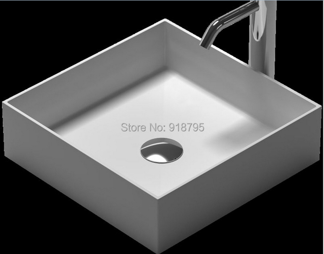 Square Solid Surface Stone Counter Top Vessel Sink Fashionable Corian  Washbasin RS38336 495