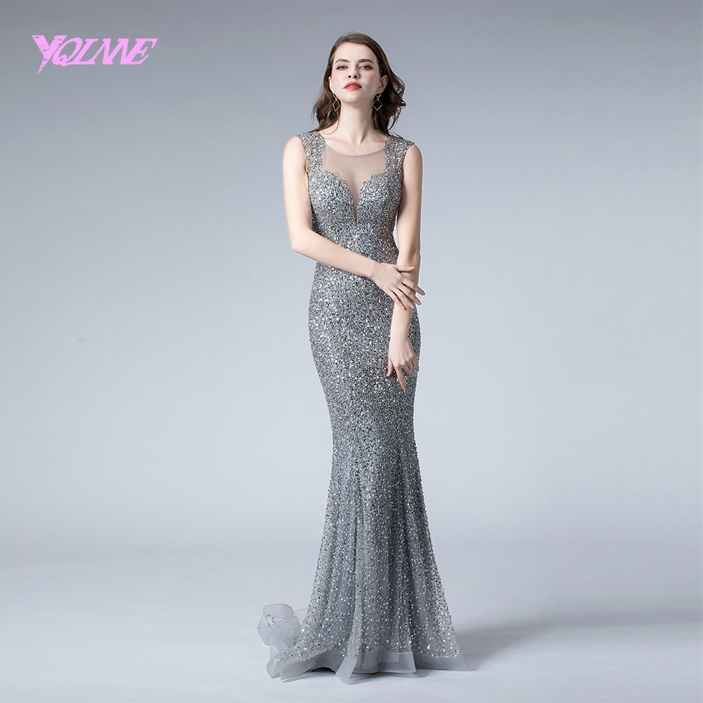 YQLNNE 2019 Silver Crystals Evening Dress Long Mermaid Pageant Dresses Formal Evening Gown Handmade Beaded