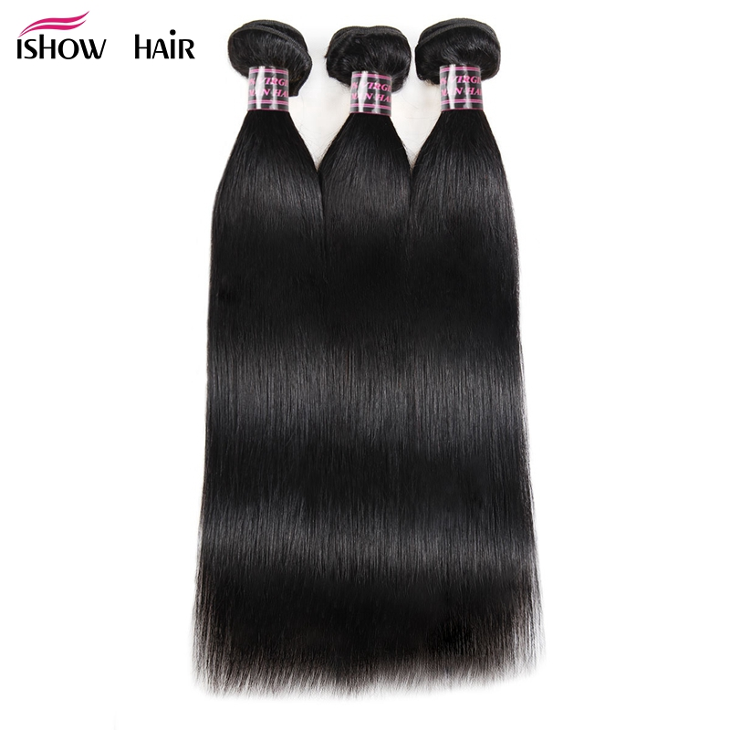 Ishow Peruvian Hair Weave 3 Bundles Straight Human Hair Extensions Natural Color Non Remy Hair Weave