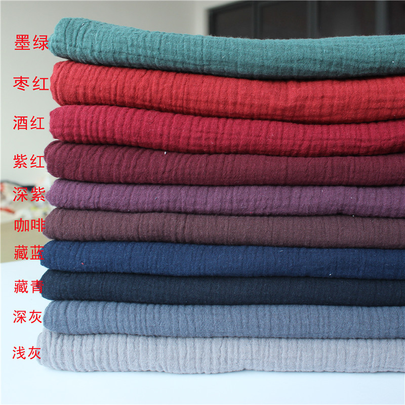 Fabric Drape Cotton And Linen Double Gauze Crepe Baby Clothes Fabric Ladies Skirt Sleepwear Fabrics 100x135cm