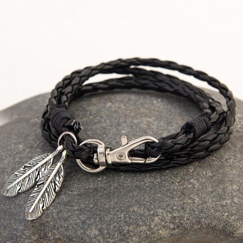 Retro Ethnic Style Leather Rope Braid Bracelets for Men and Women Hot Sale Silver Foliage Pendant Bracelets