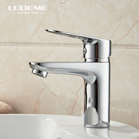 LEDEME Basin Faucet Modern Square Single Handle Lavatory Faucet Hot and Cold Bathroom Basin Sink Water Mixer Tap Crane, L1049