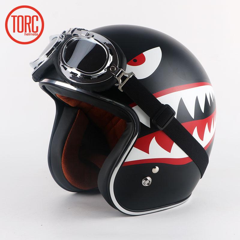 Torc Flying Tigers Ew Casco Moto Classic Open Face Helmet