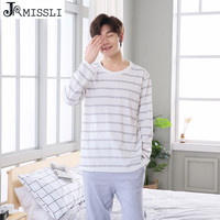 JRMISSLI Pajamas Spring Autumn 100 Cotton Striped Male Casual Plus Size Sleep Set Home Wear Lounge