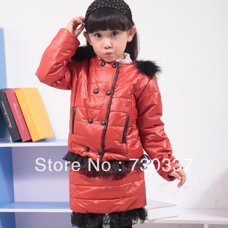 ФОТО Free shipping winter girl clothing set lace fur adornment double-breasted winter suit children clothing set