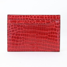 Real Crocodile Card Holder Men Women Pebble Pattern luxurious Genuine Leather Credit Card Case ID Card Holder Wallet Purse Pouch original evolis r3013 ymcko color ribbon for pebble dualys securion id card printer