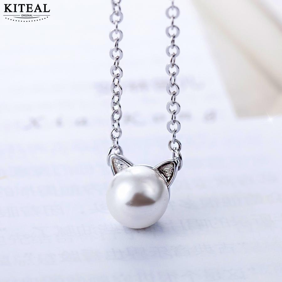 KITEAL Mode Design Göttin anhänger Perle Katze 45cm * 8mm tier multi-schicht halsketten bijouterie