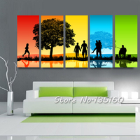 (No Frame) Large 5 Pieces Abstract Color Seasons Landscape Painting Multi Panel Happy Family Scene Canvas Wall Art Decor Picture