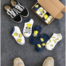 New Unisex 5 pairs socks Women Funny Simpson Cotton Socks stripe / Letters printing Novelty Couple Gifts