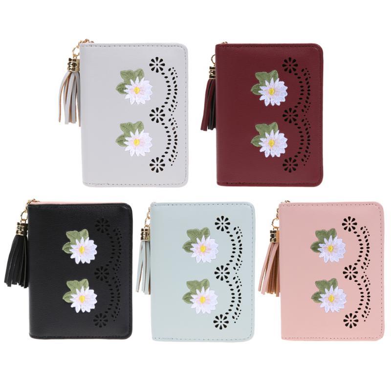 Women Short Wallet Floral Embroidery Tassel Coin Purse Fashion PU Leather Short Wallets Coin Purses Girls Zipper Coin Wallet2017