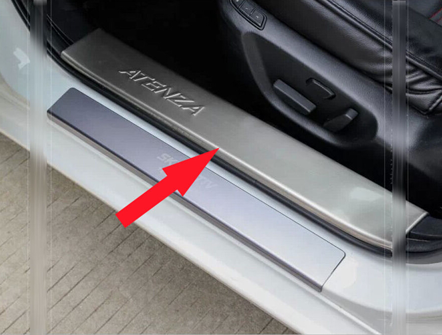 4 PCS steel Inside Door sill scuff plate Guards cover trim for  Mazda 6 ATENZA 2014 sports car door sill scuff plate guard sills for 2014 mazda 6 atenza m6