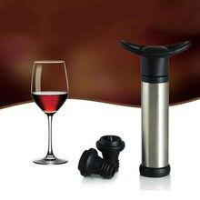 Tampa de vinho com bomba de vácuo, acessórios para bar, fechamento de ar, rolha de aço inoxidável para garrafa, vedação para guardar vinho fresco